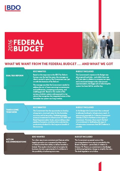 2016 Federal Budget - What we got